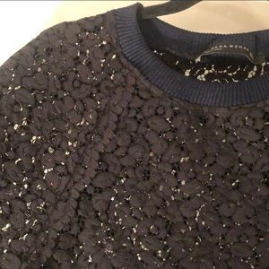 Zara black lace and navy/white sweater